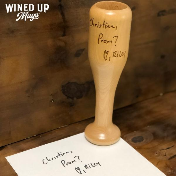 handwritten bat wine glass