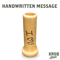 handwritten shot glass bat handle