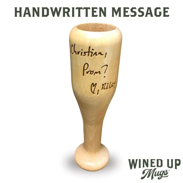 baseball bat wine glass Handwritten Message