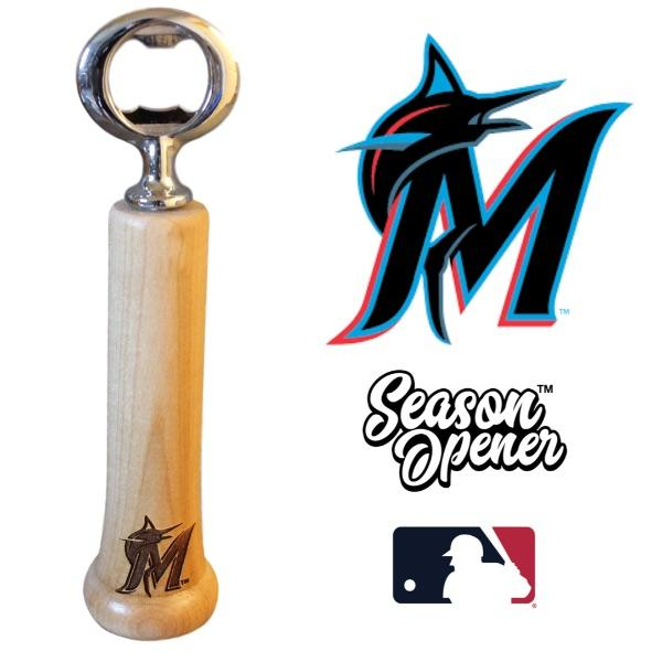 Miami Marlins M bat handle bottle opener