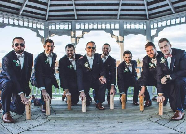 groomsmen and their Dugout Mug gifts