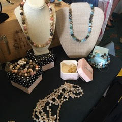 necklaces on display at a pop-up boutique