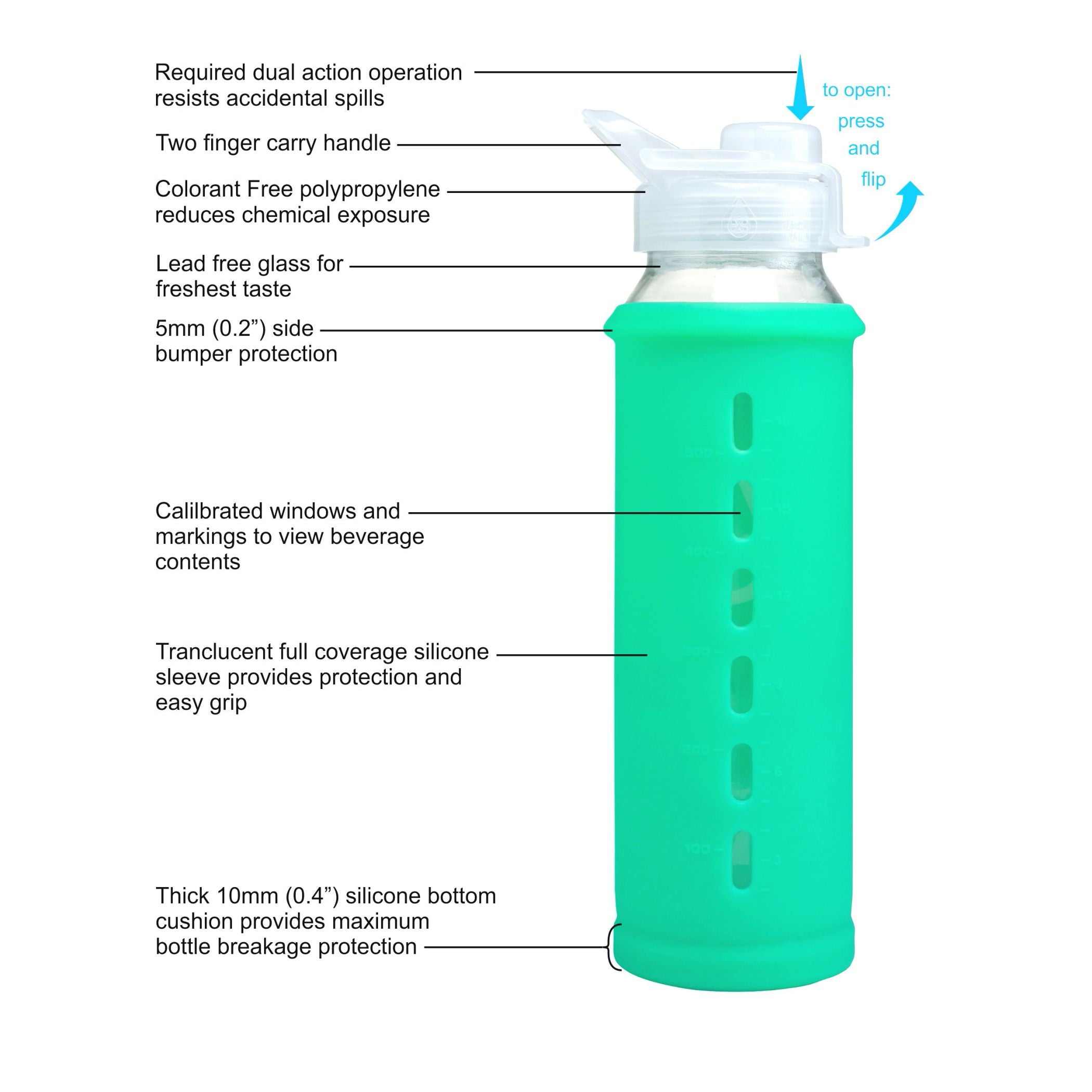 Eveau 21 oz. Glass Water Bottle with Bumperguard Silicone Sleeve & Flip Lid