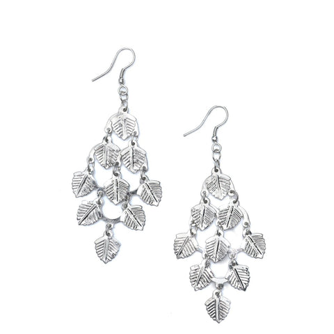 Falling Leaves Earrings - Silver