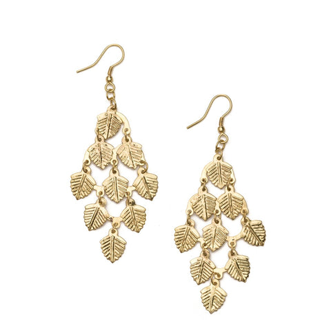 Falling Leaves Earrings - Gold