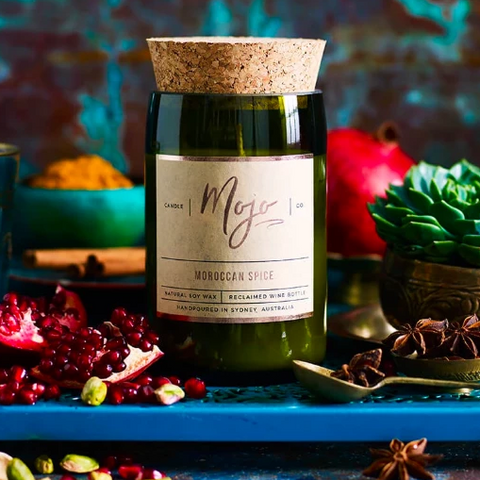 Candle - Upcycled Wine Bottle - Moroccan Spice