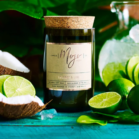 Candle - Upcycled Wine Bottle - Coconut & Lime