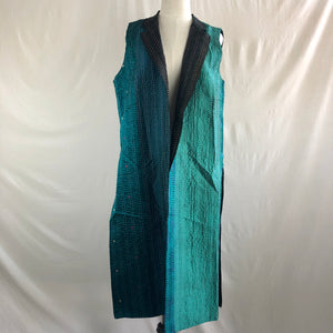 Sleeveless Long Silk Jacket