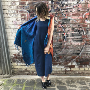 Sleeveless Waterfall Silk Jacket