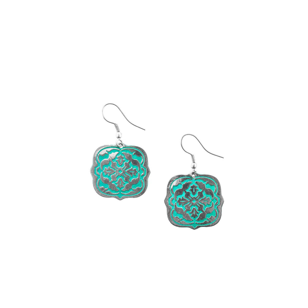 Arabesque Silver & Teal Earrings