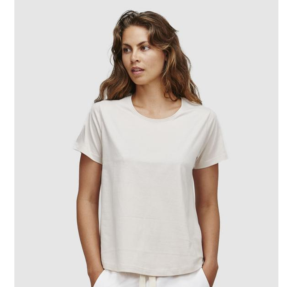Organic Cotton Crew Neck Tee - Latte