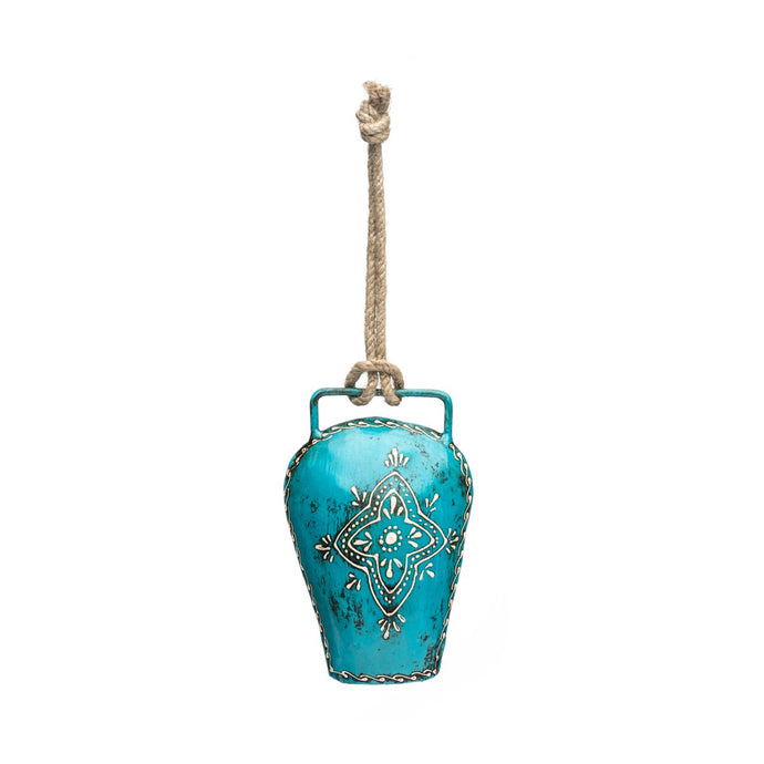 Beautiful teal bell in a unique shape, crafted from upcycled metal with intricate handprinted detail and jute hanging loop.