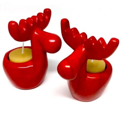 Red Stone Moose Tealight Holder