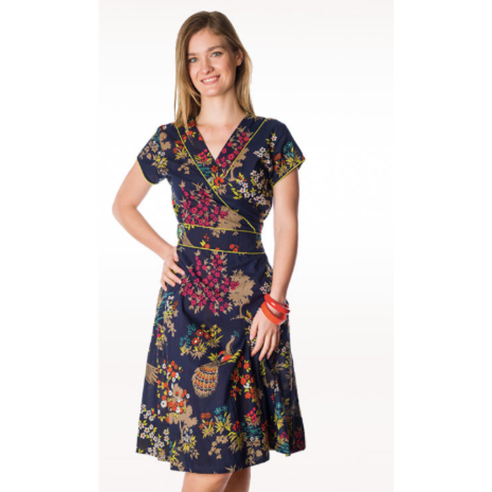 Peacock Wrap Dress - 12, 14