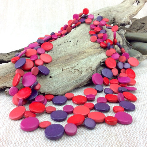 Smarties  Red Fuchsia Purple 3 Strand Coconut Shell Necklace