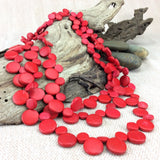 Smarties Red 3 Strand Coconut Shell Necklace