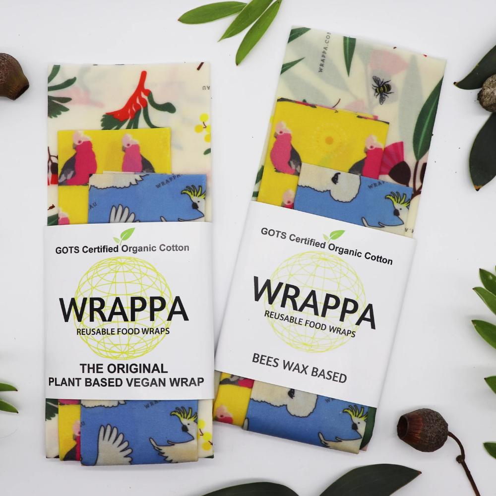 Organic Cotton Plant Based Food Wraps - Birds & Flowers