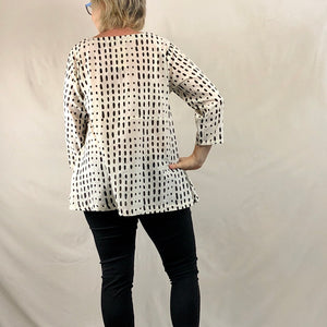 Patch Pocket Tunic Top - Black & White Spots
