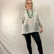 Load image into Gallery viewer, Patch Pocket Tunic Top - Black & White Spots