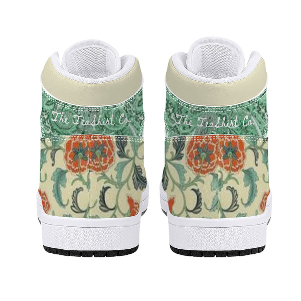 Teal n Orange Floral High-Top Leather Sneakers