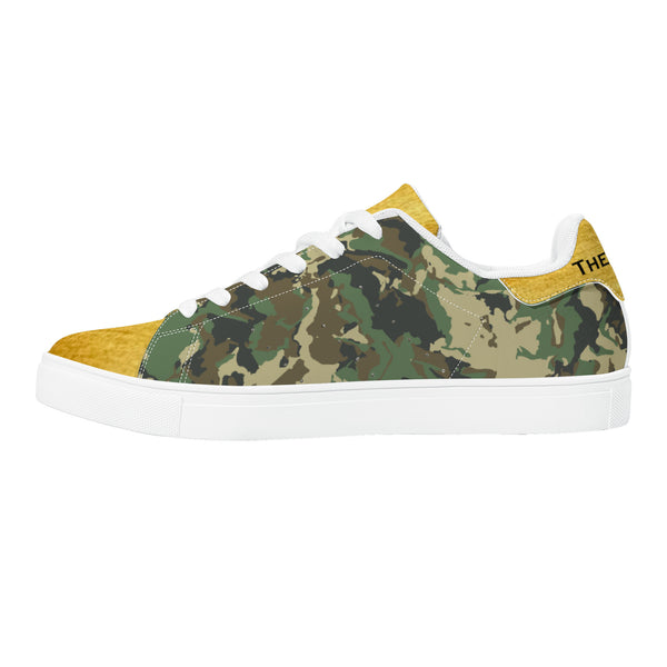 Golden Glow Low-Top Leather Sneakers