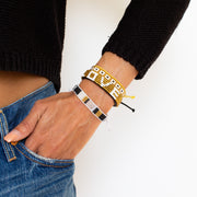 Stripe Blocked Woven Bracelet - White / Gold