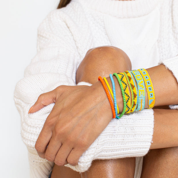 Square Pattern Woven Bracelet - Yellow / Blue