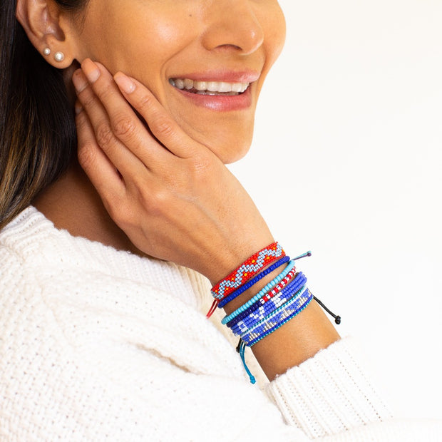 Cheveron Woven Bracelet - Red / Blue