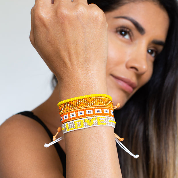 Square Pattern Woven Bracelet - Orange