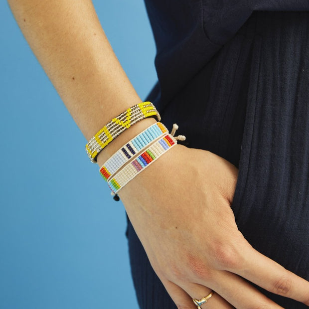 Stripe Blocked Woven Bracelet - Light Blue / Multi