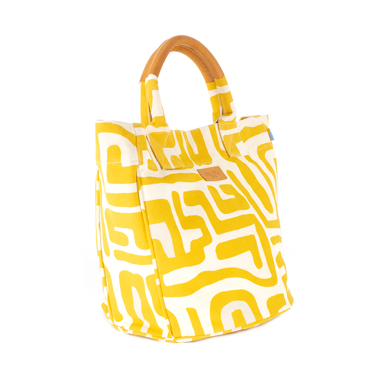 Beach Bag in Mustard & Eggshell