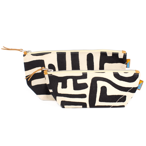 Large Pouch in Black & Eggshell