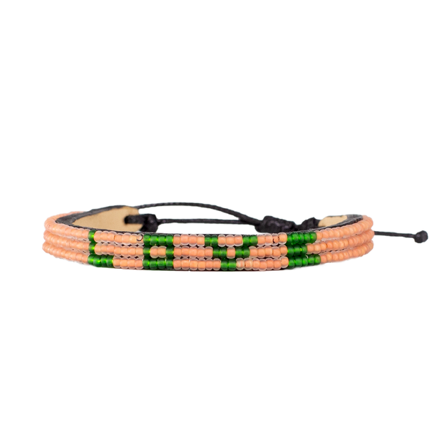 Peach and Green Skinny LOVE Bracelet