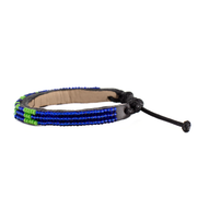 Azure Blue and Lime Green Skinny LOVE Bracelet
