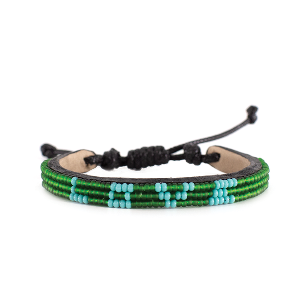 Jungle Green and Light Blue Skinny LOVE Bracelet