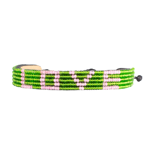 Green and Pink LOVE Bracelet