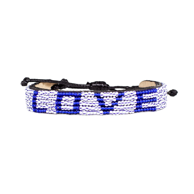 Stripe and Navy LOVE Bracelet