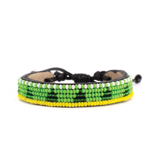 Lime Green and Deep Green Piramidi Bracelet