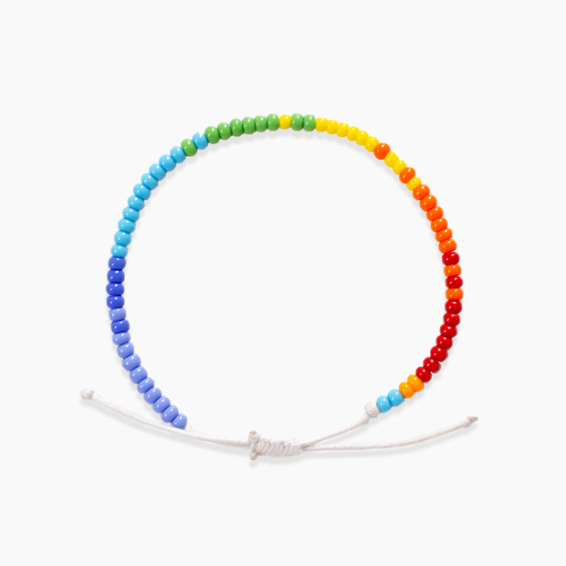 Single Strand Beaded Bracelet - Rainbow Blocked