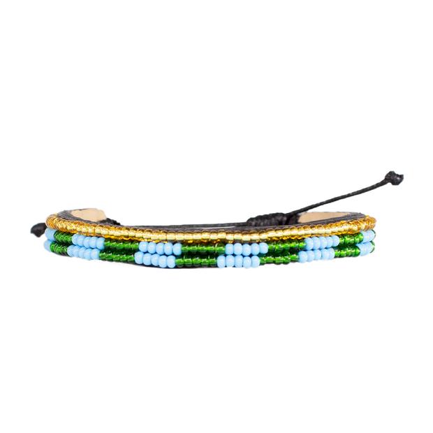 Blue and Green Skinny Mstari Bracelet