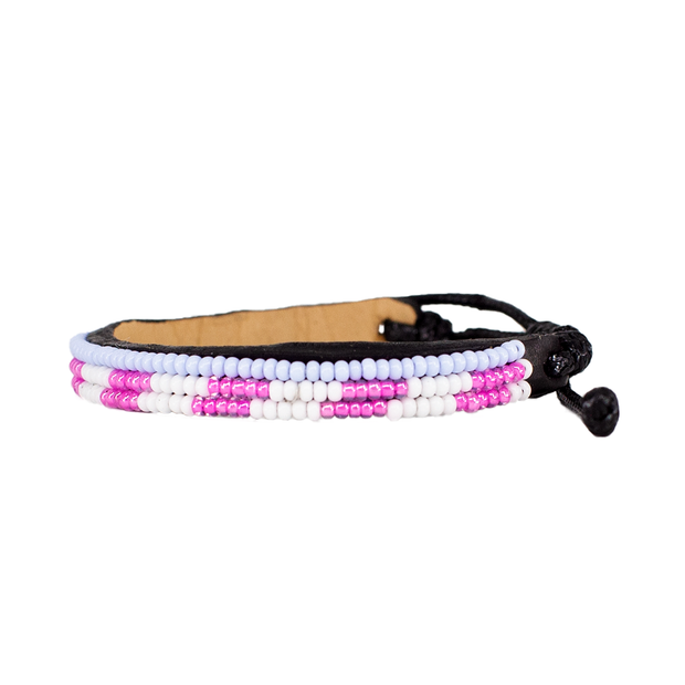 White and Pink Skinny Mstari Bracelet