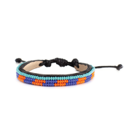 Deep Orange and Medium Blue Skinny Mstari Bracelet