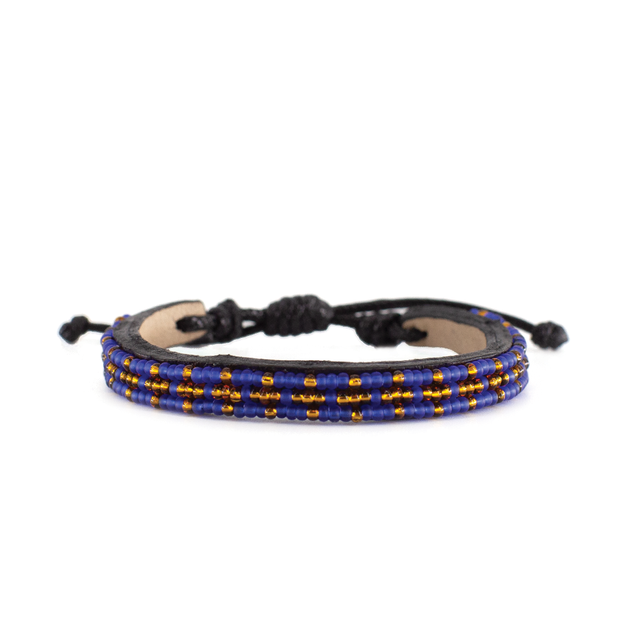 Translucent Blue and Bronze Msalaba Bracelet