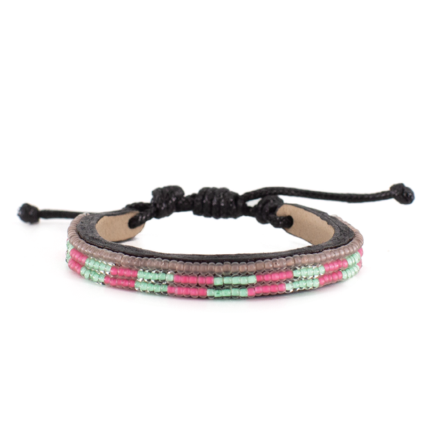 Iridescent Turquoise and Summer Pink Mstari Skinny Bracelet
