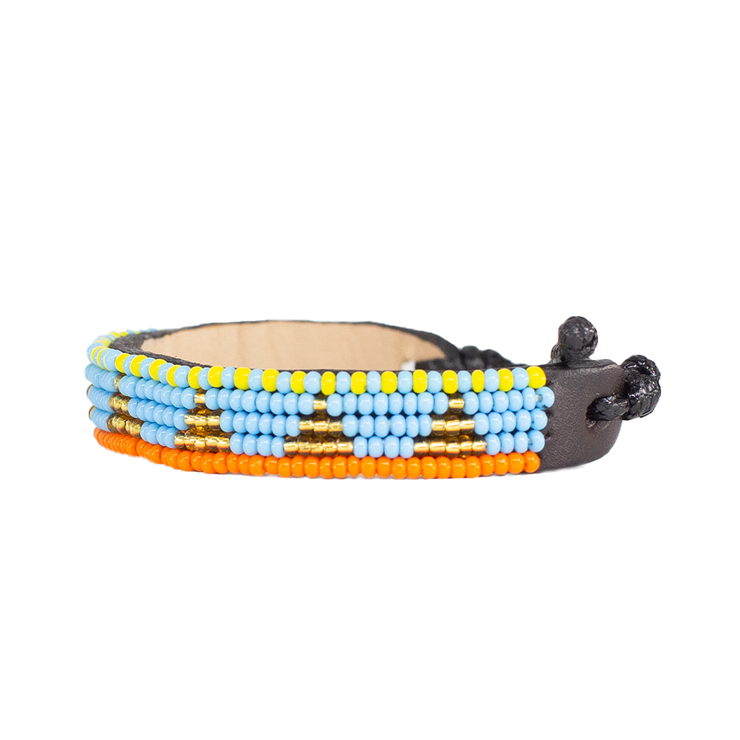Light Blue and Gold Piramidi Bracelet
