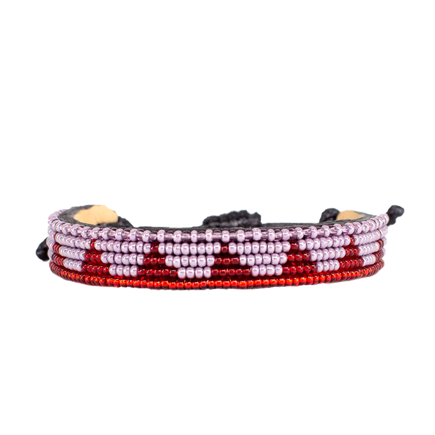 Pearl Purple and Burgundy Piramidi Bracelet