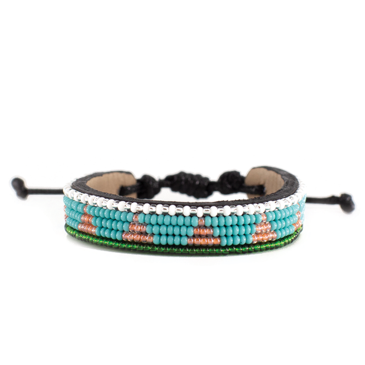 Turquoise and Iridescent Pink Piramidi Bracelet