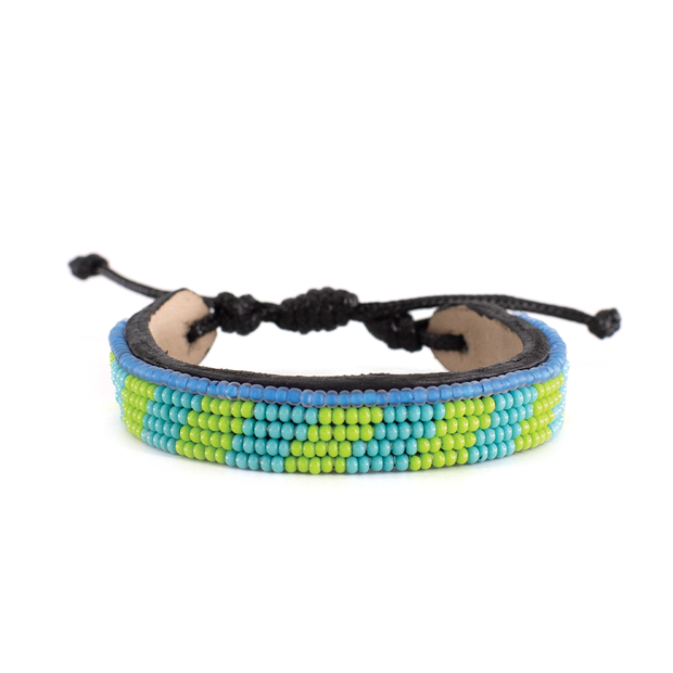 Lime Green and Turquoise Mstari Bracelet