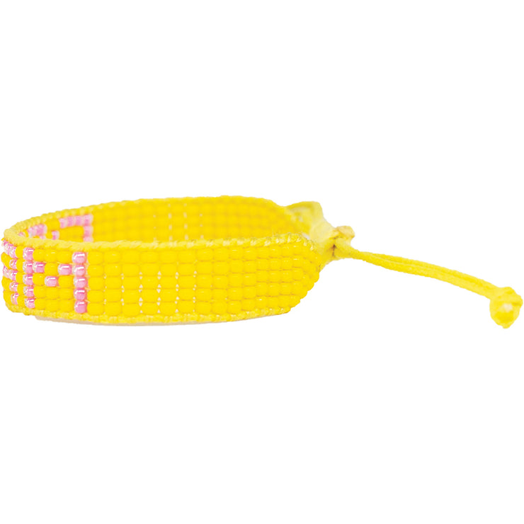 Yellow / Pink DREAM Woven Bracelet