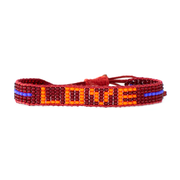 Burgundy / Orange  LOVE Woven Bracelet
